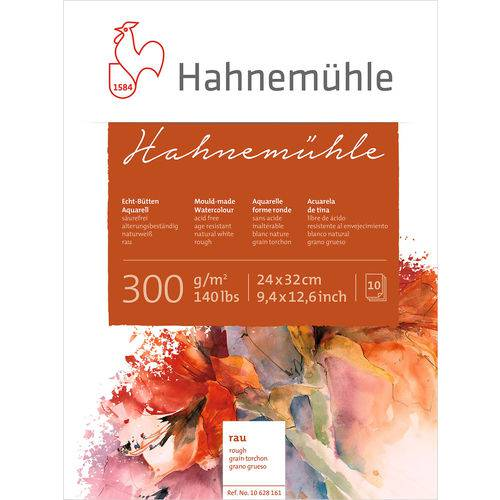 Bloco Aquarela Hahnemuhle 300 G/m² Grain Torchon 24 X 32 Cm com 10 Folhas Hahnemuhle