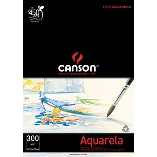 Bloco Aquarela Mix Media Branco 300 G/m² A-4 21,0 X 29,7 Cm com 12 Folhas Canson