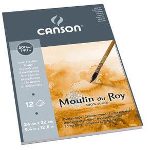 Bloco Aquarela Moulin Du Roy 300 G/m² Grain Torchon A-4 24X32 Cm com 12 Folhas Canson