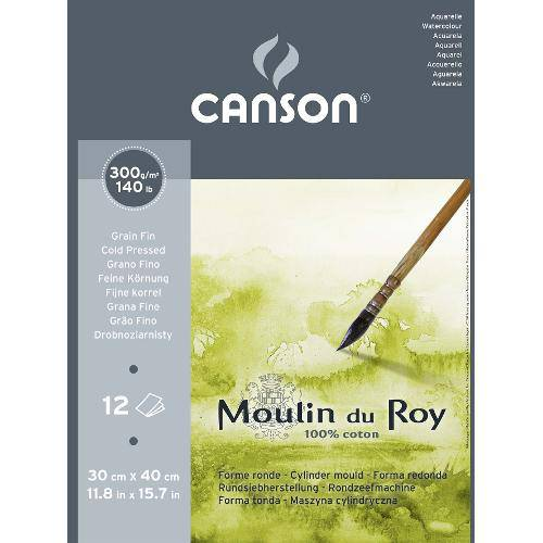 Bloco Aquarela Moulin Du Roy 300g/M² G.F A-3 30x40 Cm C/12 Folhas Canson
