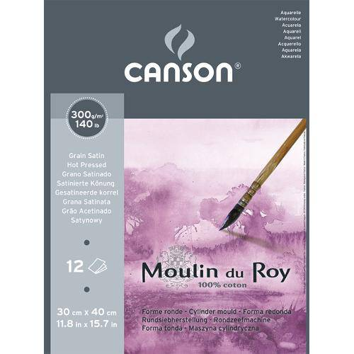 Bloco Aquarela Moulin Du Roy 300g/M² G.S A-3 30x40 Cm C/12 Folhas Canson