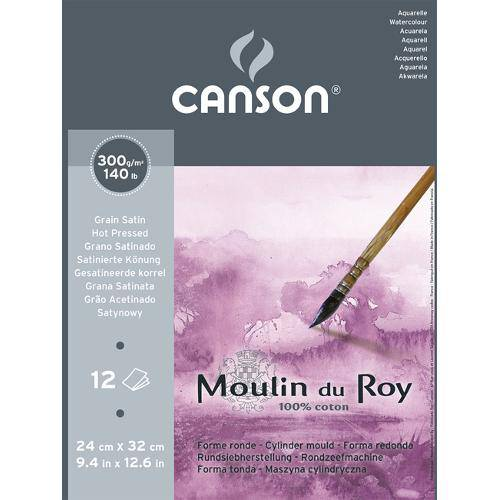 Bloco Aquarela Moulin Du Roy 300g/M² G.S A-4 24x32 Cm C/12 Folhas Canson