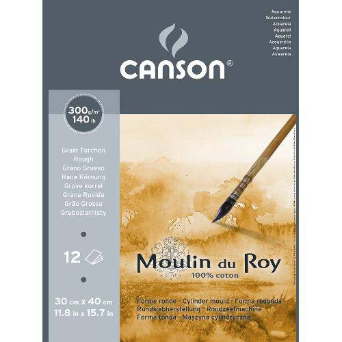 Bloco Aquarela Moulin Du Roy 300g/M² G.T A-3 30x40 Cm C/12 Folhas Canson