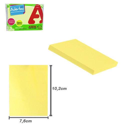 Bloco Auto Adesivo Sticker para Recado Retangular Adertac com 100 Folhas Amarelas 10 2x7 6cm