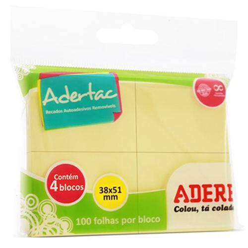 Bloco Auto Adesivo Sticker para Recado Retangular Adertac com 400 Folhas Amarela 5 1x3 8cm