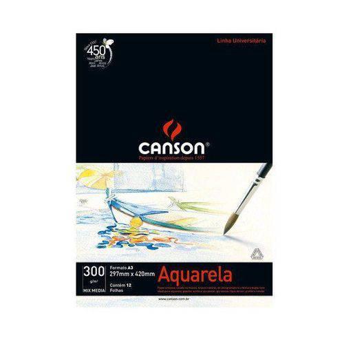 Bloco Canson Aquarela – Mix Media Linha Universitária 300g/m² A3 com 12 Folhas – 666671