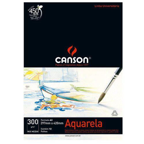 Bloco Canson Aquarela – Mix Media Linha Universitária 300g/M² A3 com 12 Folhas – 66667181
