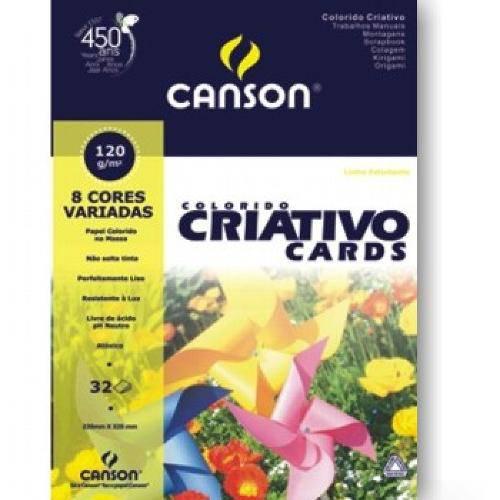 Bloco Canson Colorido Criativo Cards 120grs A3 C/32 Folhas 8 Cores