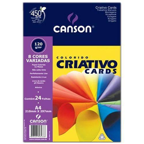 Bloco Canson Colorido Criativo Cards 120grs A4 C/32 Folhas 8 Cores