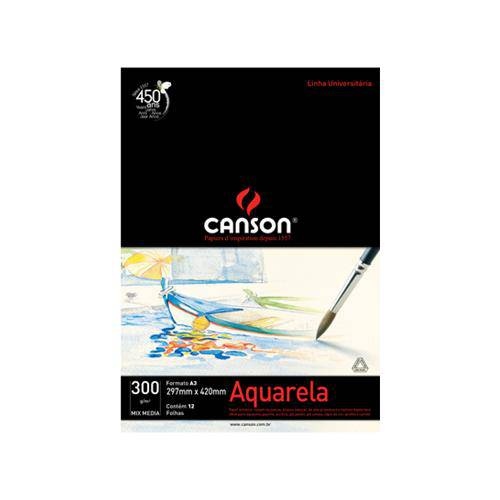 Bloco Canson Universitário Aquarela 300grs A3 C/12 Folhas