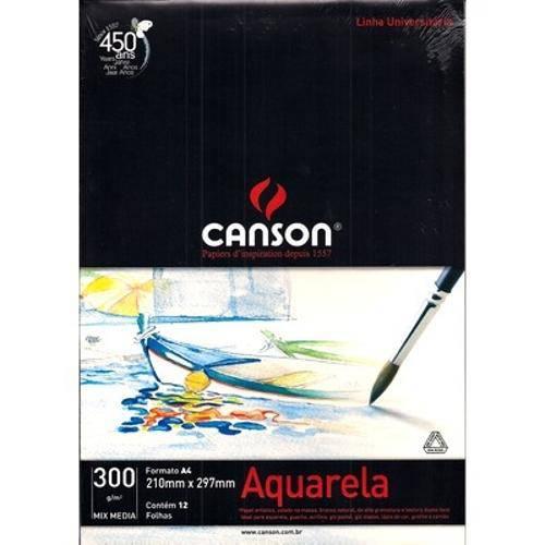 Bloco Canson Universitário Aquarela 300grs A4 C/12 Folhas