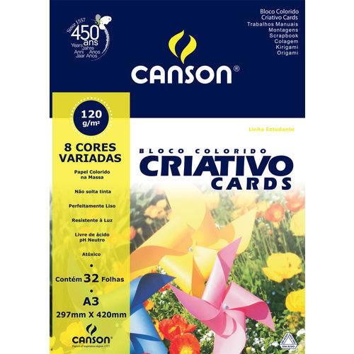 Bloco Colorido Criativo Card Estudante 120 G/m² A-3 29,7 X 42,0 Cm com 32 Folhas Canson
