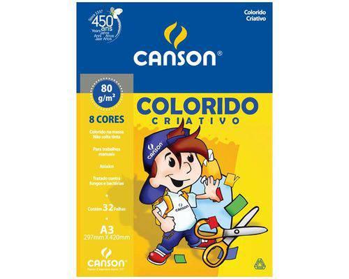 Bloco Colorido Criativo Infantil 80grs A3 C-32 Folhas C-8 Cores
