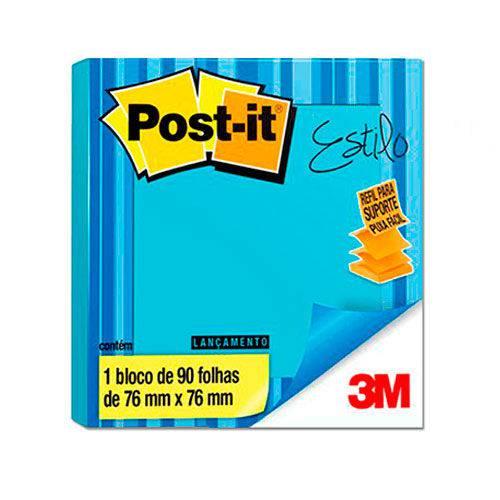 Bloco de Notas Adesivas Post It 3M Estilo Azul Céu 76x76mm 90 Folhas
