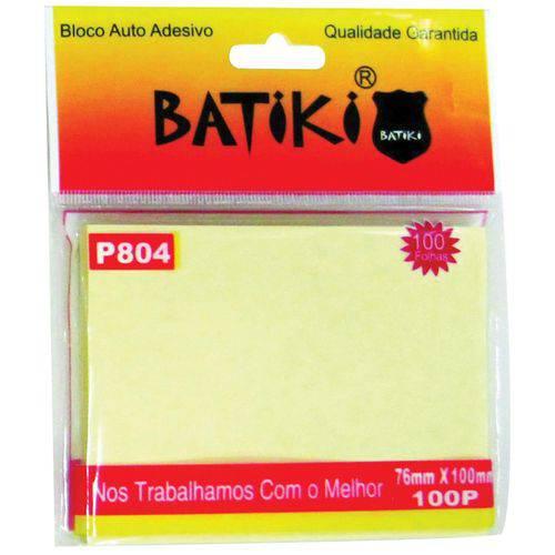 Bloco de Recado Autoadesivo Amarelo 76x100mm. C/100fls. Batiki