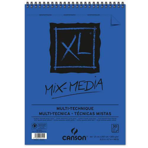 Bloco Espiralado Canson Xl® Mix Media 300g/M² A4 21 X 29,7 Cm com 30 Folhas – 200807215
