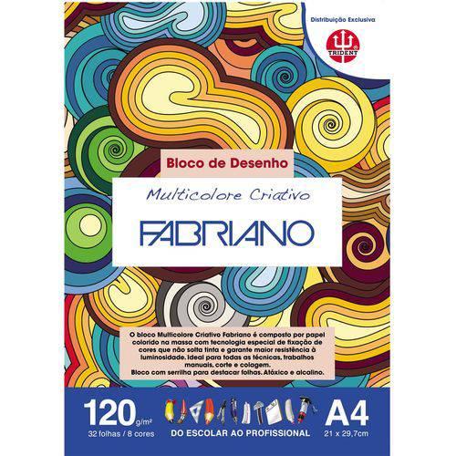 Bloco Multicolorido Criativo 120 G/m² A-4 21 X 29,7 Cm com 32 Folhas 8 Cores Trident/fabriano