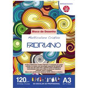 Bloco Multicolorido Criativo 120 G/m² A-3 29,7 X 42 Cm com 32 Folhas 8 Cores TRIDENT/FABRIANO