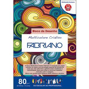 Bloco Multicolorido Criativo 80 G/m² A-4 21 X 29,7 Cm com 32 Folhas 8 Cores TRIDENT/FABRIANO