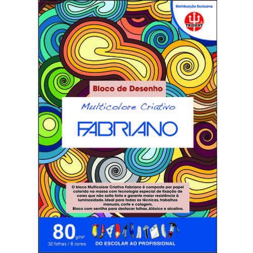 Bloco Multicolorido Criativo 80 G/m² A-3 29,7 X 42 Cm com 32 Folhas 8 Cores Trident/fabriano