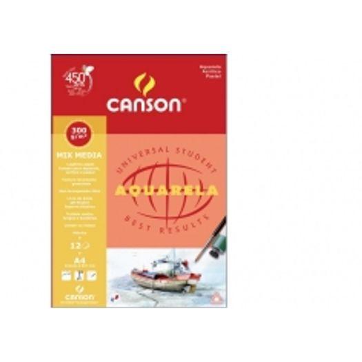 Bloco Papel Aquarela A4 12f 300g 7180 Canson