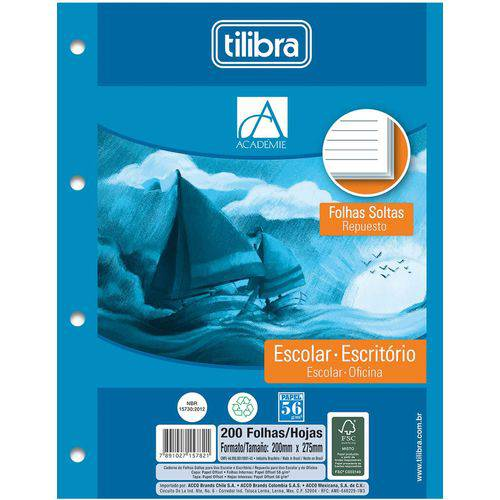 Bloco para Fichario Universit. Academie Branco 200f 203x280mm Tilibra Cx.c/12