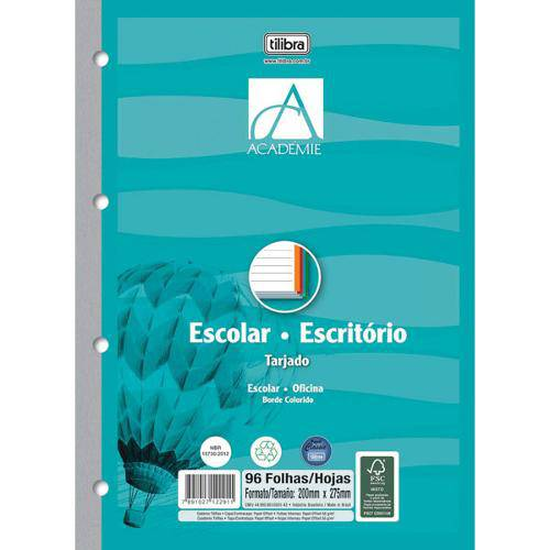 Bloco para Fichario Universit. Academie Color 96f. 203x280mm Pct.C/10 Tilibra