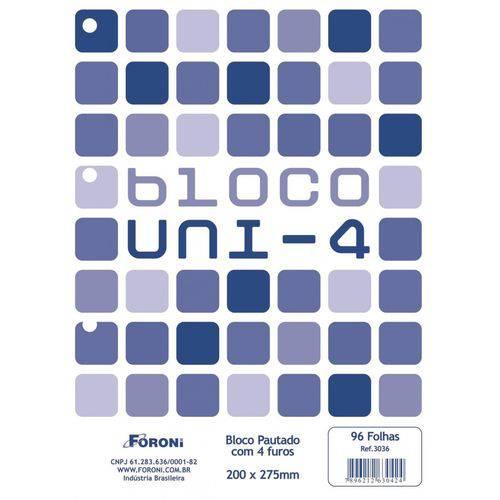 Bloco para Fichário Universitário Uni-4 Branco 96 Folhas 200 X 275 Mm com 10 Unidades Foroni