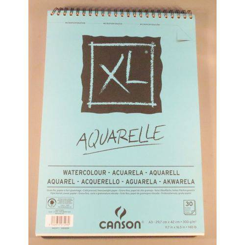 Bloco Pintura Canson Xl Aquarela A3 300gr - 30 Fls