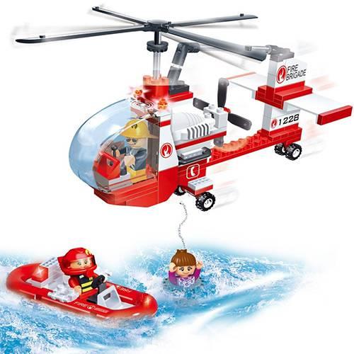 Blocos de Montar Banbao Helicóptero de Resgate dos Bombeiros - 150 Peças