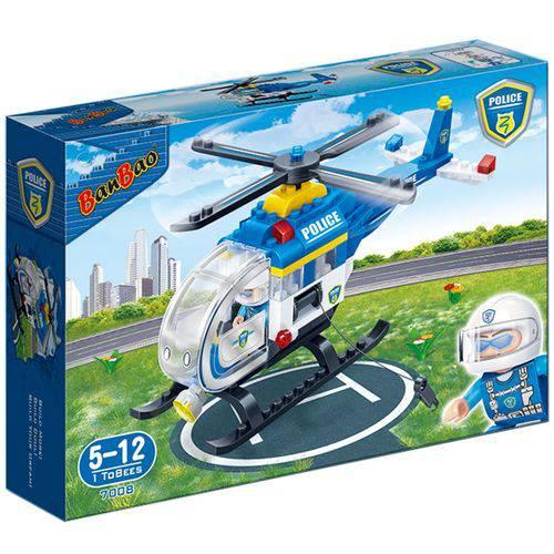 Blocos de Montar Helicóptero Polícia 122 Peças 7008 BanBao