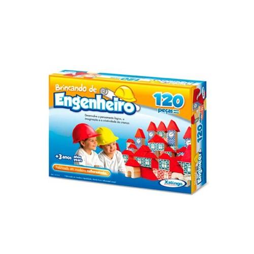 Bloquinhos de Madeira Brincando de Engenheiro 120 Peças Xalingo