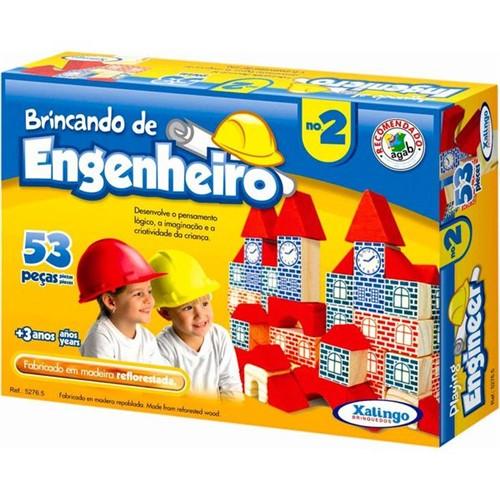 Bloquinhos de Madeira Brincando de Engenheiro Nº2 - Xalingo