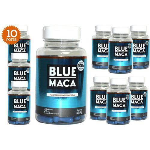 Blue Maca - Maca Peruana - 10 Potes com 120 Cápsulas em Cada Pote. - Pura Premium e Sem Misturas