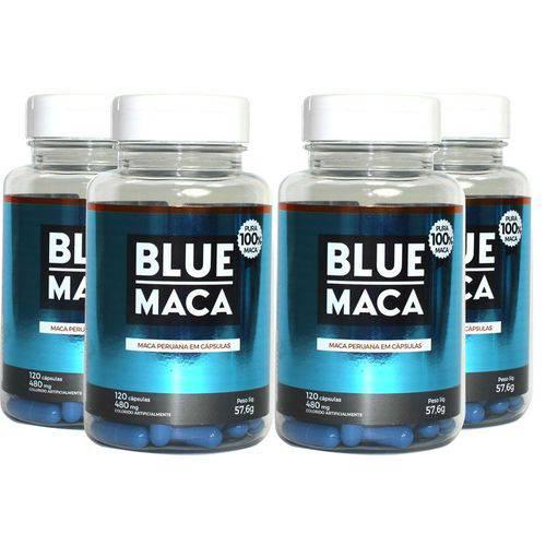 Blue Maca - Maca Peruana - 4 Potes com 120 Cápsulas em Cada Pote. - Pura Premium e Sem Misturas