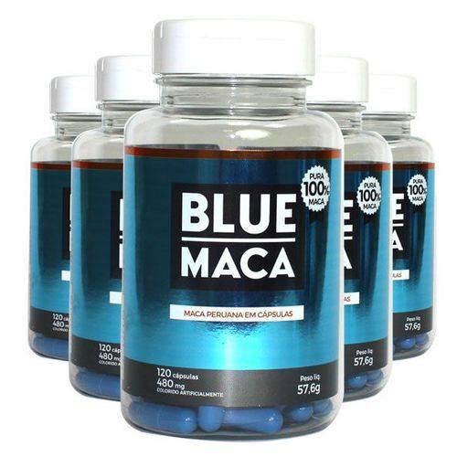 Blue Maca - Maca Peruana - 5 Potes com 120 Cápsulas em Cada Pote. - Pura Premium e Sem Mistura