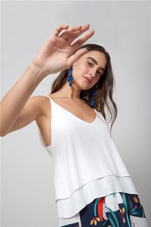 Blusa Alcinha Babado Off White - PP