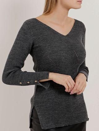 Blusa Alongada de Tricot Feminina Cinza