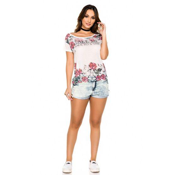 Blusa Ampla com Estampa Floral e Termocolante P