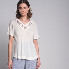 Blusa Aviamento Decote Off White - P