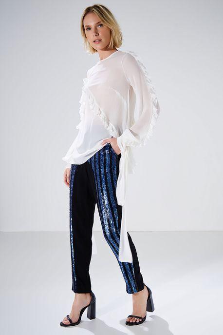 Blusa Babados Fita Branca Concept Off White - P