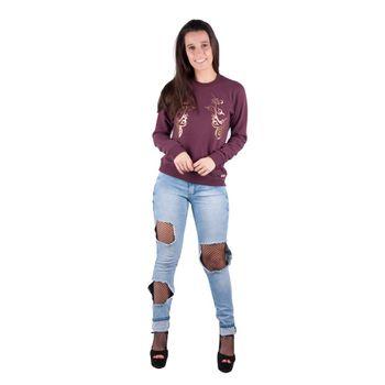 Blusa Banna Hanna Moleton Silk Vinho P