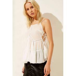 Blusa Bata Longa Transparência Silk Off White - 36