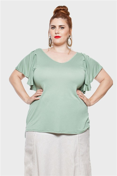 Blusa Butterfly Silk Plus Size Verde-48/50