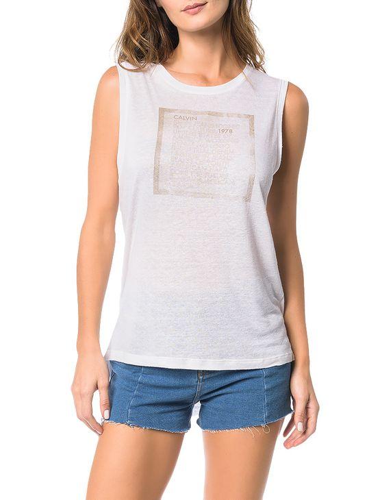 Blusa Calvin Klein Jeans com Estampa Frontal Off White - PP