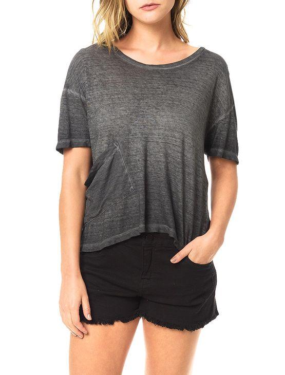 Blusa Calvin Klein Jeans com Lavanderia e Bolso Lateral Grafite - P