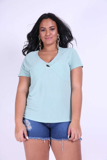 Blusa Canelada Plus Size Verde GG