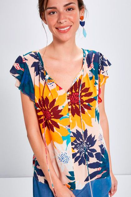 Blusa Cantão Est. Margarida - Multicolorido