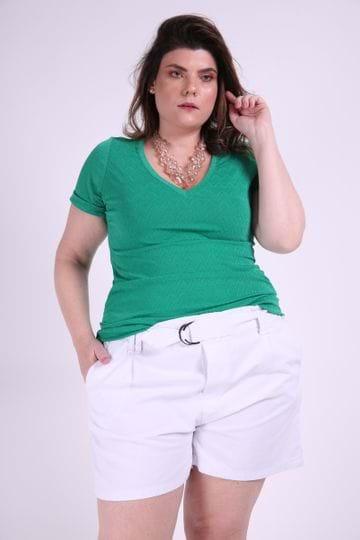 Blusa Chevron Plus Size Verde EX