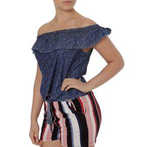 Blusa Ciganinha Feminina Azul GG